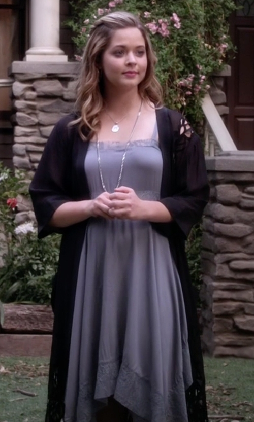Sasha Pieterse with Free People Dobby Dot Lace Trim Trapeze Slip Dress in Pretty Little Liars