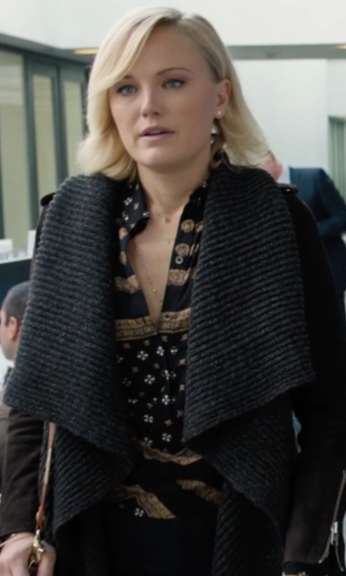 Malin Akerman with Dsquared2 Floral Print Shirt in Billions
