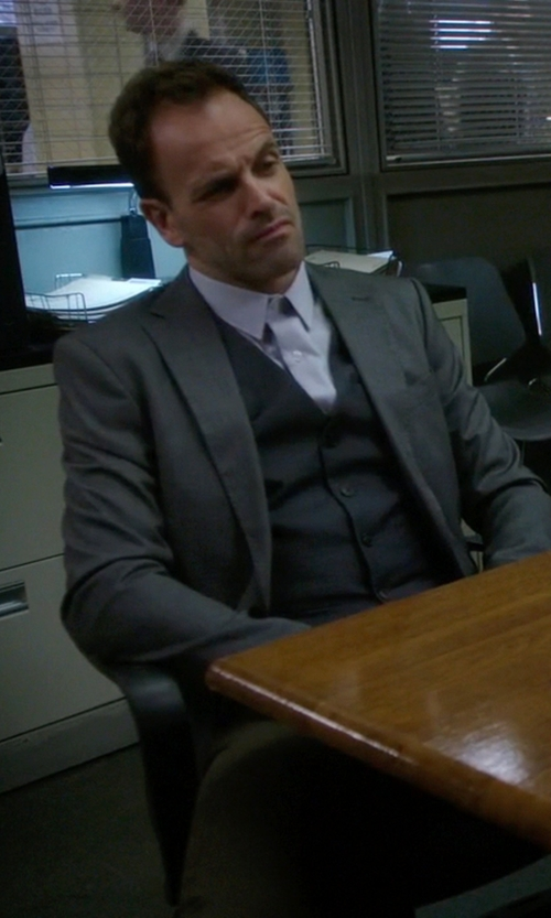 Jonny Lee Miller with Banana-Republic Wool Suit Jacket in Elementary