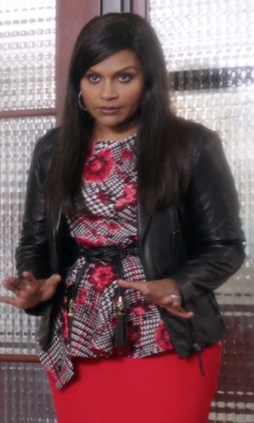 Mindy Kaling with Elie Tahari Friva Leather Jacket in The Mindy Project