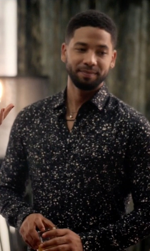 Jussie Smollett with Saint Laurent Paint Splatter Shirt in Empire