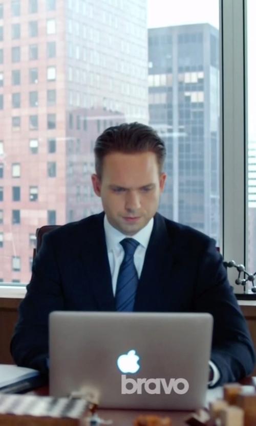 Patrick J. Adams with Apple MacBook Pro Laptop in Suits