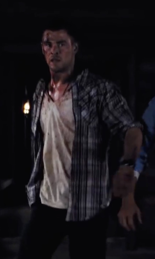 Chris Hemsworth with Topman Plaid Twill Shirt in Cabin in the Woods