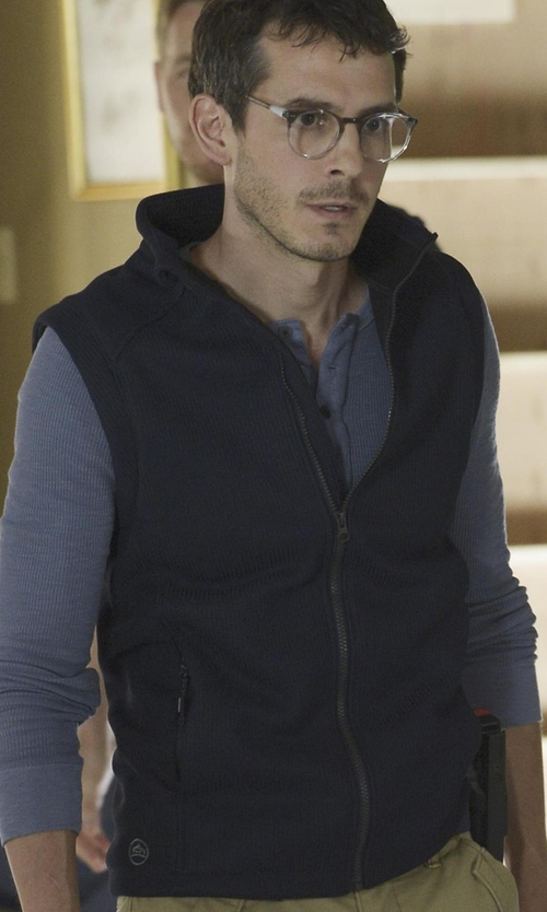 Tate Ellington with Bugatchi Zip Vest in Quantico