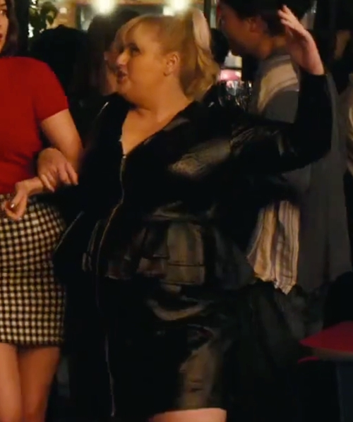Rebel Wilson with Bella René  Stretch Italian Leather Reversible Double Peplum Dress in How To Be Single