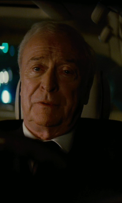 Michael Caine with Giorgio Armani Custom Made Black Butler Suit (Alfred) in The Dark Knight Rises