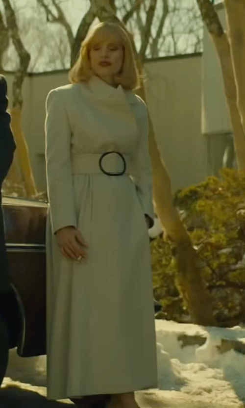 Jessica Chastain with Armani & Kasia Walicka-Maimone (Costume Designer) Custom Made Wide Shoulder Belted Trench Coat (Anna Morales) in A Most Violent Year