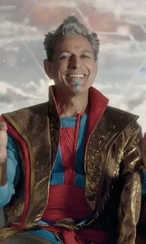 Jeff Goldblum with Mayes C. Rubeo (Costume Designer) Custom Made Grandmaster Costume in Thor: Ragnarok