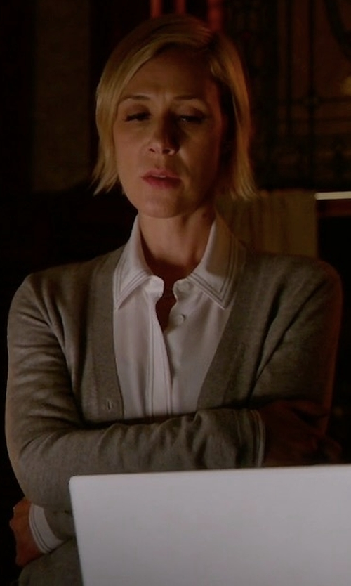 Liza Weil with Tory Burch Simone Button-Front Wool Cardigan in How To Get Away With Murder