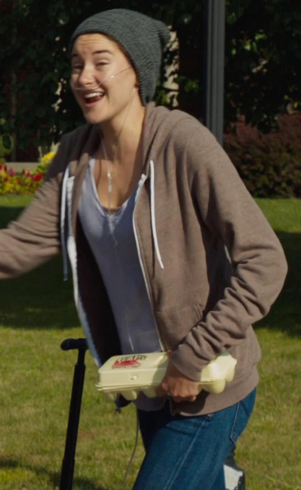 Shailene Woodley with adidas Boyfriend Double V-Neck Tee in The Fault In Our Stars