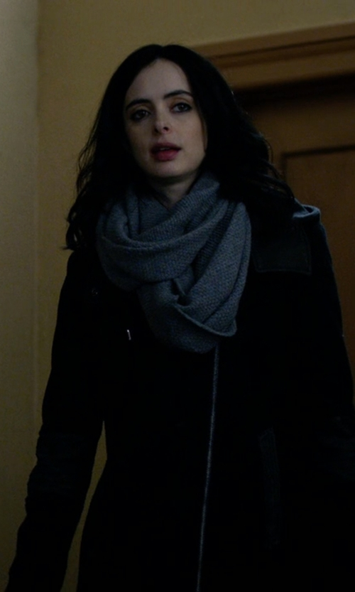 Krysten Ritter with Andrew Marc Corey Leather Trim Hooded Coat in Jessica Jones