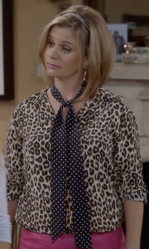 Andrea Barber with Joie Purine B Leopard Printed Tie Blouse in Fuller House