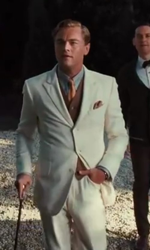 Leonardo DiCaprio with Catherine Martin (Costume Designer) and Brooks Brothers (Tailor) The Great Gatsby Collection Ivory Linen Jacket in The Great Gatsby