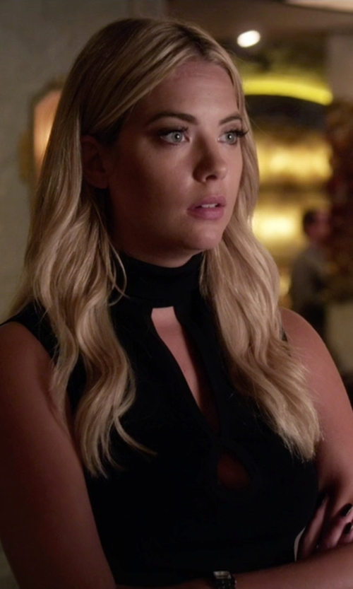 Ashley Benson with Josie Natori Double Knit Jersey Turtle Neck Dress in Pretty Little Liars