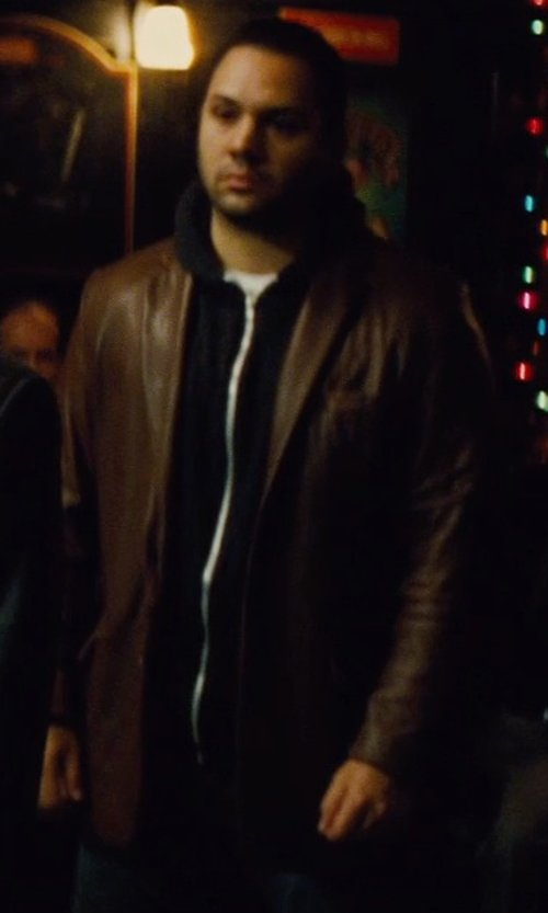 Ilan Krigsfeld with Vince Camuto Vintage Leather Jacket in Run All Night