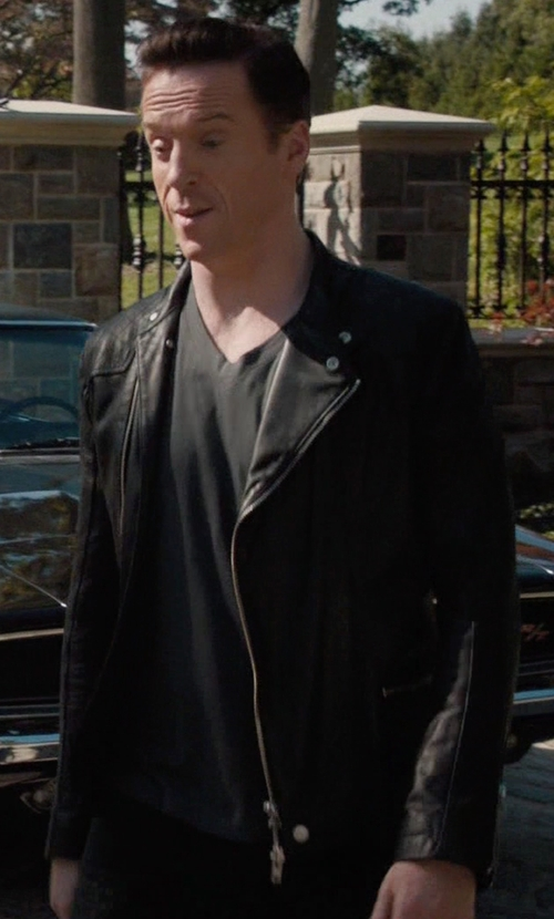 Damian Lewis with Helmut Lang Leather Rider Jacket in Billions