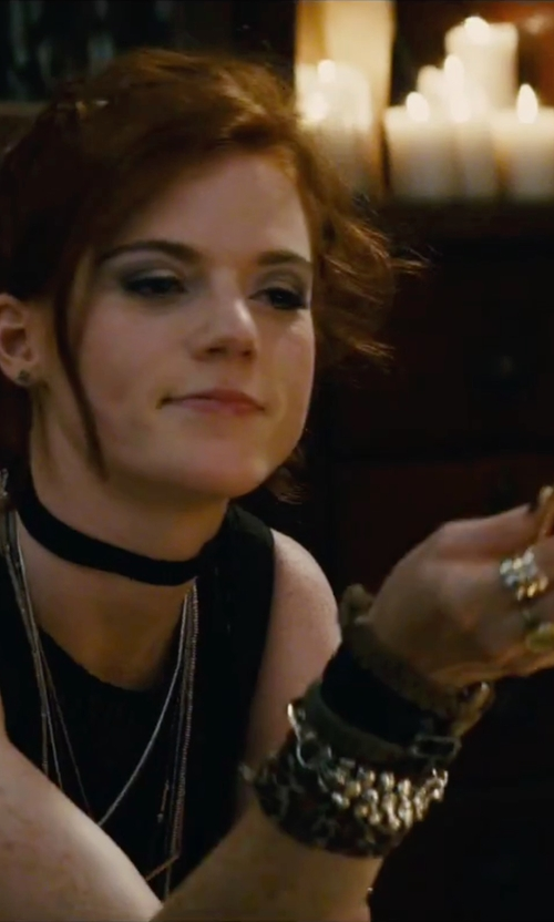 Rose Leslie with Tory Burch Leather Logo Cuff Bracelet in The Last Witch Hunter