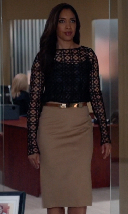 Gina Torres with Ralph Lauren Cindy Wool Pencil Skirt in Suits