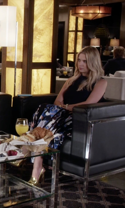 Ashley Benson with Tory Burch Sadie Metallic High-Heel Slingback Pumps in Pretty Little Liars