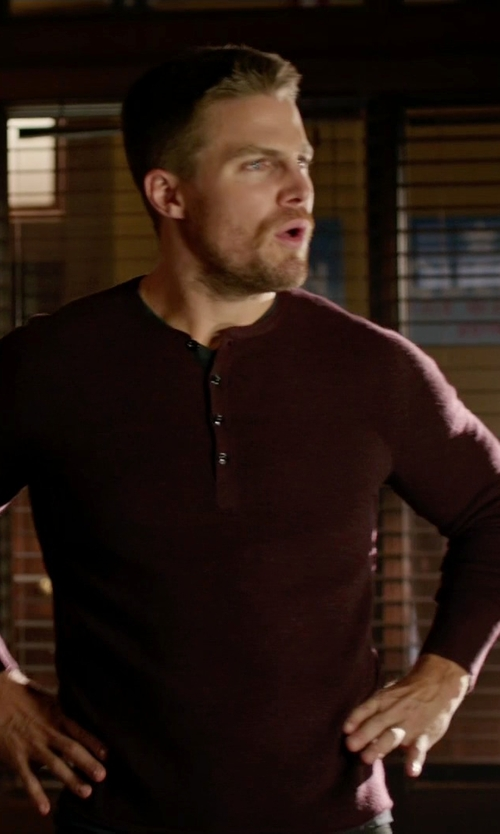 Stephen Amell with 7 For All Mankind Long Sleeve Henley Shirt in Arrow