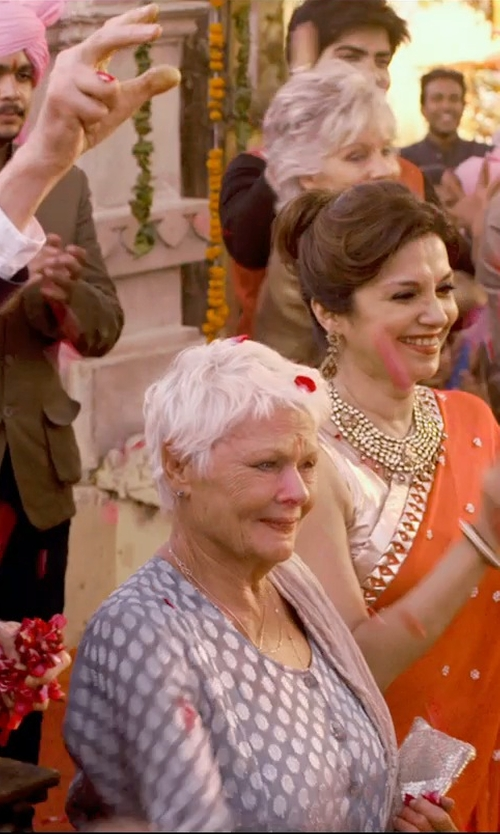 Judi Dench with Thakoon Addition Polka Dots Blouse in The Second Best Exotic Marigold Hotel