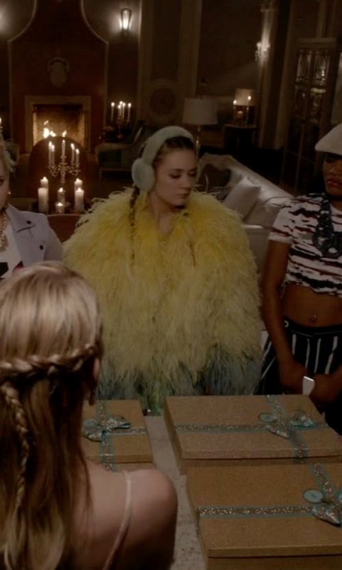 Billie Lourd with Daizy Shely SS15 Feather Jacket in Scream Queens