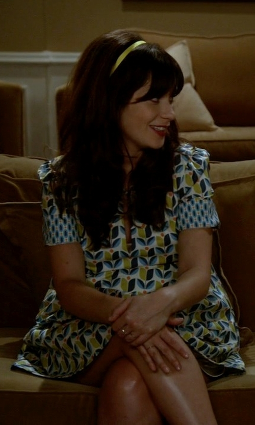 Zooey Deschanel with Debra McGuire (Costume Designer) Custom Made Dress Using Fabrics By Joel Dewberry in New Girl