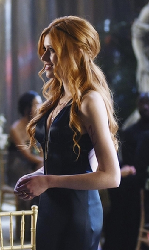 Katherine McNamara with Laundry By Shelli Segal V-Neck Sheath Dress in Shadowhunters