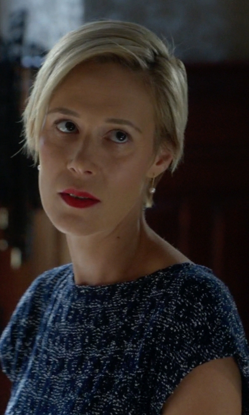 Liza Weil with Les Copains Pattern Blouse in How To Get Away With Murder