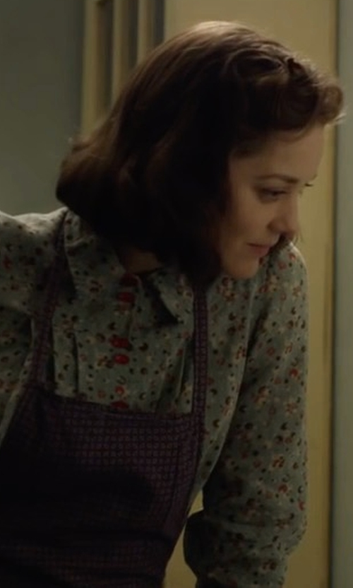 Marion Cotillard with Weekend Max Mara Marica Floral Silk Shirt in Allied