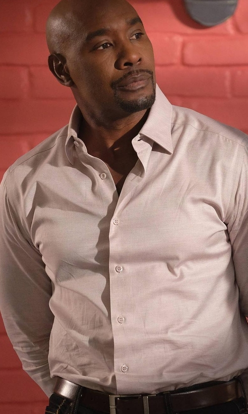Morris Chestnut with Giorgio Armani Grained Leather Belt in Rosewood