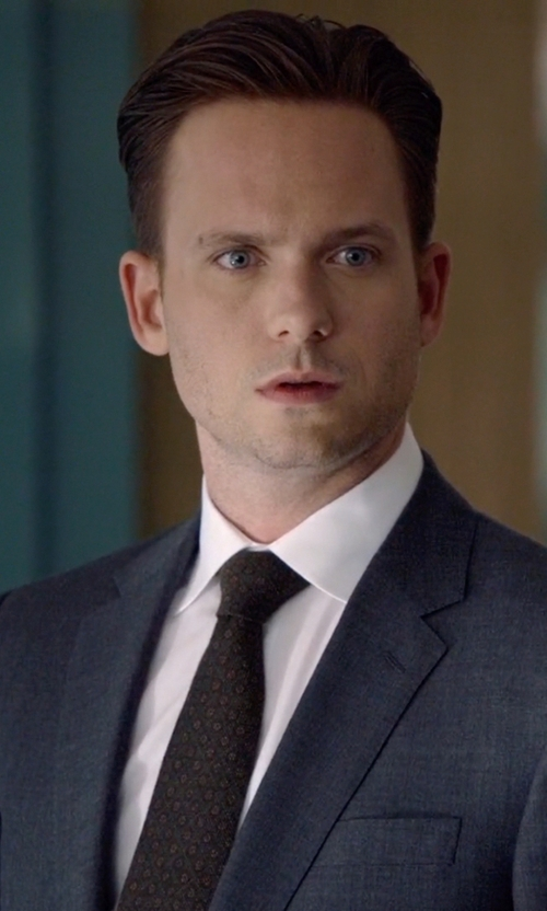 Patrick J. Adams with Saks Fifth Avenue Collection Circle Silk Tie in Suits