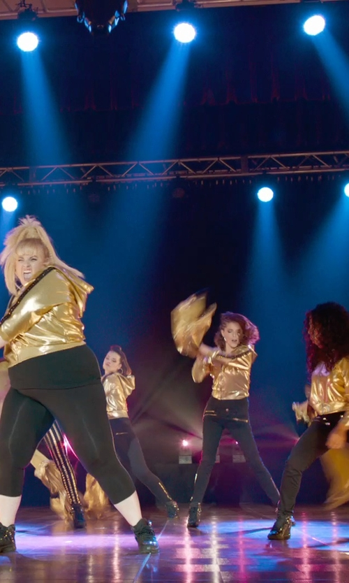 Shelley Regner with Betabrand Gold Reversible Disco Hoodie in Pitch Perfect 2