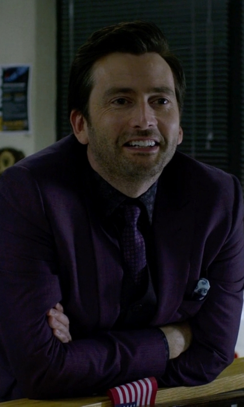 David Tennant with John Varvatos Deep Purple Tie in Jessica Jones