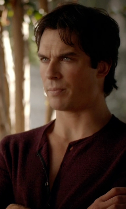 Ian Somerhalder with Rag & Bone Garrett Long-Sleeve Thermal Henley Shirt in The Vampire Diaries