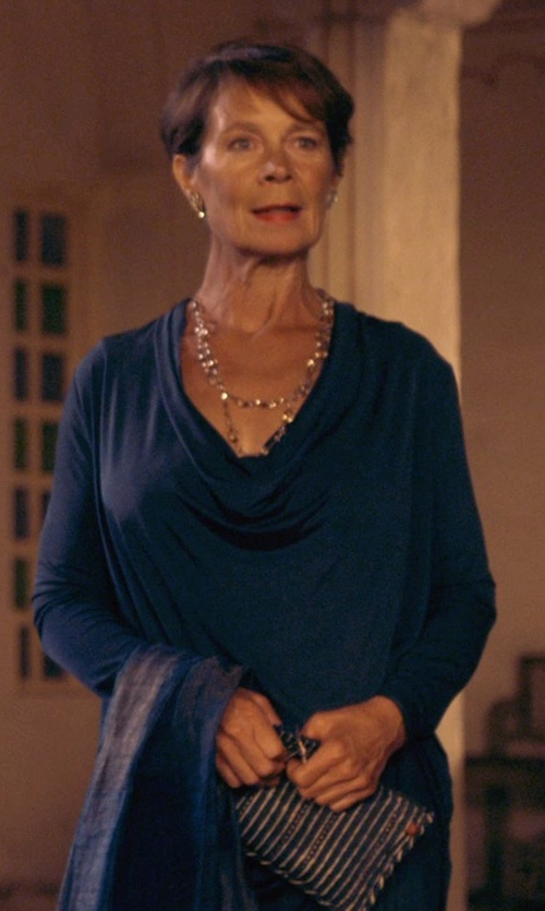Celia Imrie with James Perse Crepe Jersey Drape Top in The Second Best Exotic Marigold Hotel