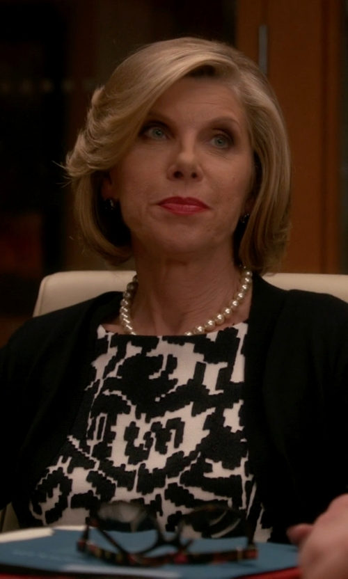 Christine Baranski with Oscar De La Renta Floral Wool Day Dress in The Good Wife
