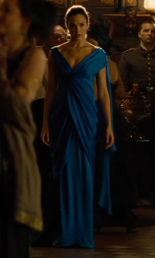 Gal Gadot with Carmen Marc Valvo Sleeveless Ruffle-Front Column Gown in Wonder Woman