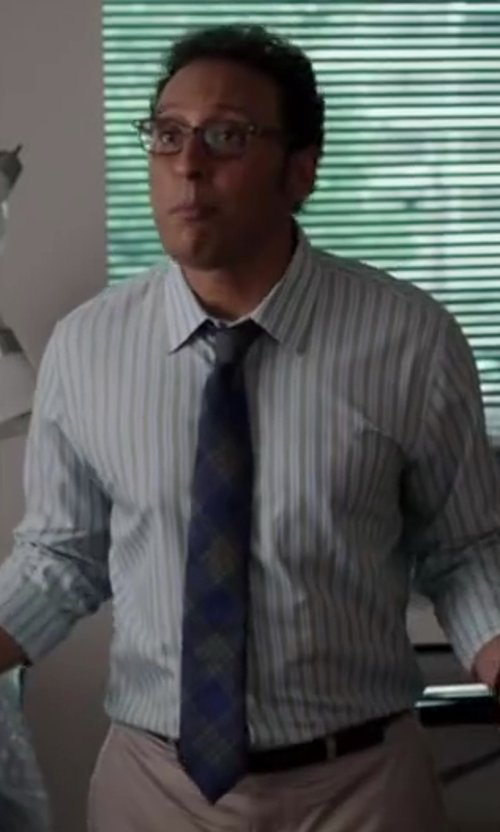Aasif Mandvi with ALEXANDER OLCH Large Plaid Tie in Million Dollar Arm