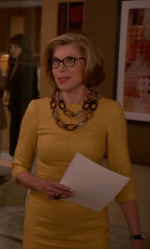 Christine Baranski with Pono Chiara Moonstone Rubber Choker Necklace in The Good Wife