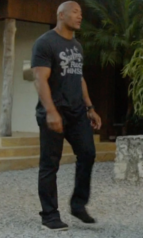 Dwayne Johnson with Paige Federal Black Reflect Denim Pants in Ballers