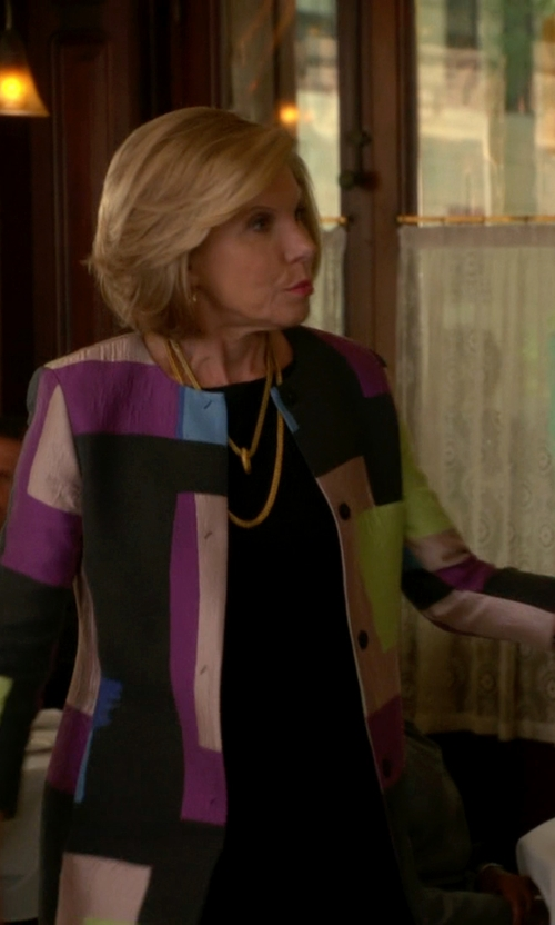 Christine Baranski with Berek	 Queen Alex Graphic-Print Crinkled Long Jacket in The Good Wife