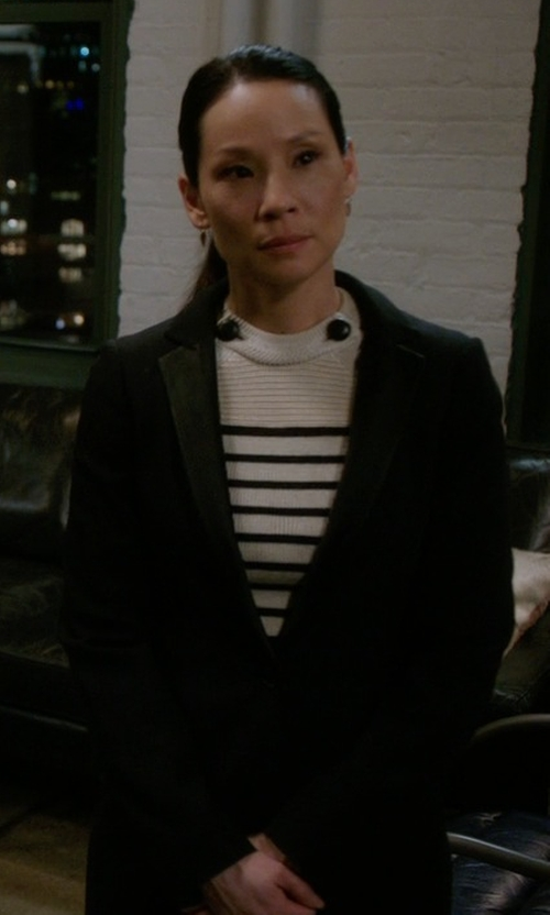 Lucy Liu with Zady The Wool Coat in Elementary