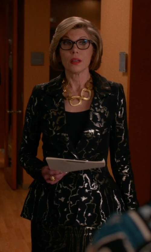 Christine Baranski with Oscar De La Renta Metallic-Embroidered Blazer in The Good Wife