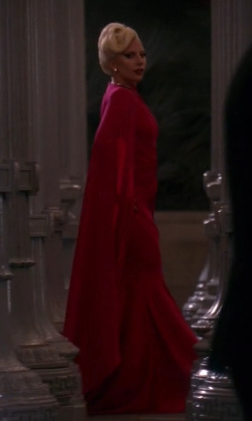 Lady Gaga with Michael Costello Custom Cape-Sleeve Gown in American Horror Story