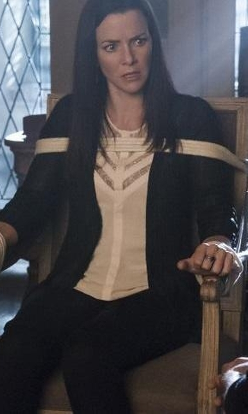 Annie Wersching with Neiman Marcus Cashmere Open-Front Cardigan in The Vampire Diaries