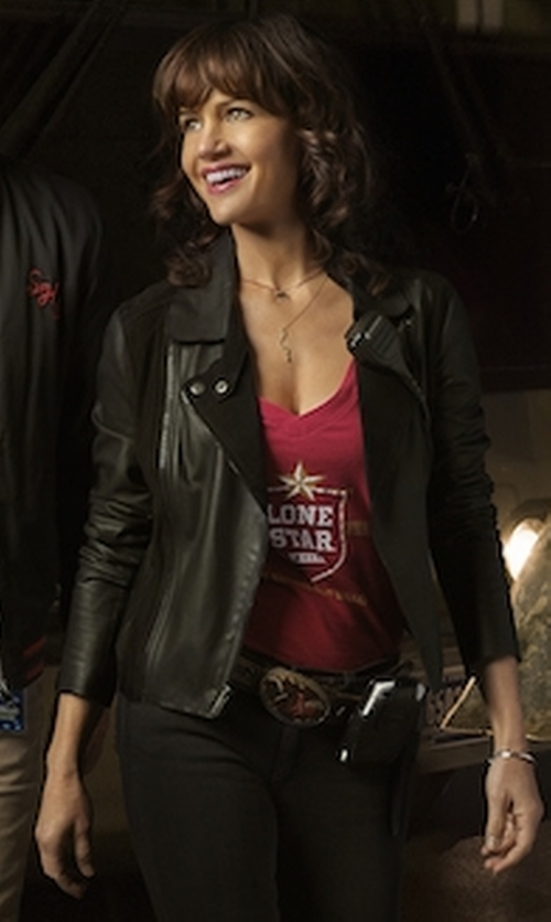 Carla Gugino with Free People Soho Vegan Leather Jacket in Roadies
