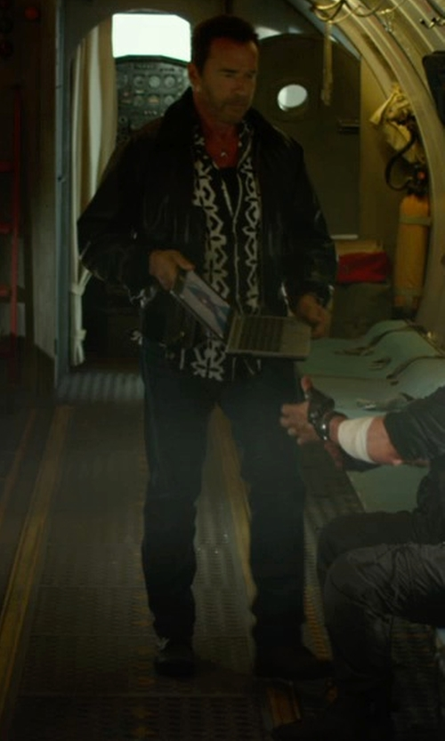 Arnold Schwarzenegger with Vivienne Westwood Stretch Coated Cotton Denim Trousers in The Expendables 3
