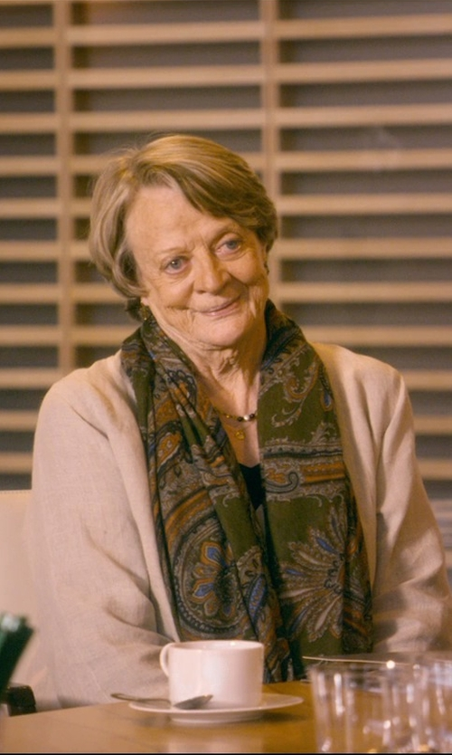 Maggie Smith with Free People Three-Quarter-Sleeve Stand-Collar Linen Duster Coat in The Second Best Exotic Marigold Hotel