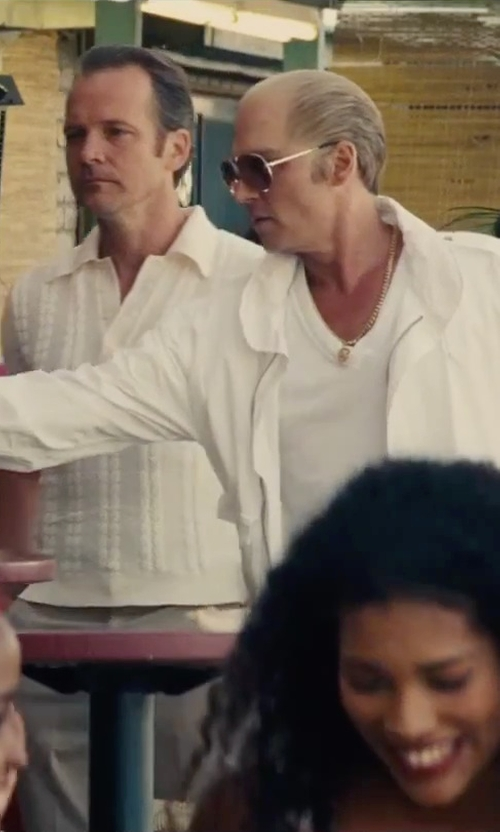 Johnny Depp with Blk Dnm Scoop Neck T-Shirt in Black Mass